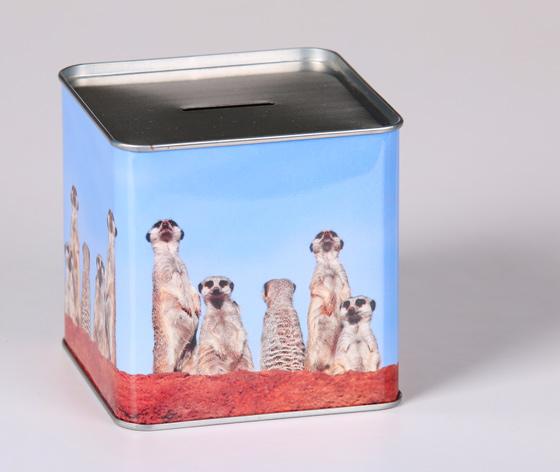 方形储钱铁罐|马口铁储钱盒