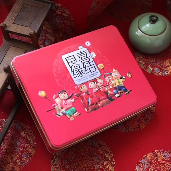喜结良缘喜糖铁盒 长方形糖果铁盒生产 245*195*50Hmm